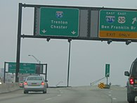 A split in a freeway with two green signs over the road. The left sign reads Interstate 95 Trenton Chester with two downward arrows and the right sign reads east Interstate 676 east U.S. Route 30 Ben Franklin Bridge upper right arrow exit only.