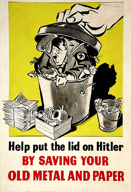Salvage - Help put the lid on Hitler by saving your old metal and paper INF3-203 Salvage Help put the lid on Hitler by saving your old metal and paper.jpg