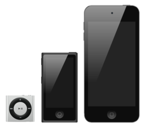IPod - iPod line before July 27, 2017. From left to right: iPod Shuffle, iPod Nano, iPod Touch.