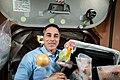 ISS-63 Cassidy unpacks food items.jpg