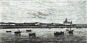 Farol da Lapa - Lapa Lighthouse and temple as seen from Póvoa Bay around 1868