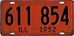 Illinois 1952 license plate - Number 611 854.jpg