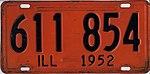 Illinois 1952 license plate - Number 611 854.jpg