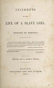 Cover page for Incidents in the Life of a Slave Girl (1861)