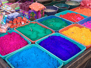 Punjabi festivals - India - Colour Powder stalls on Holi- 7242