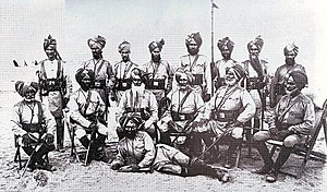 Indian Officers of the 9th Bengal Cavalry in 1885. This portrait has mostly Sikhs but the 9th was a 'Mixed Class' Regiment with Squadrons of Sikh soldiers and Muslim soldiers serving together.