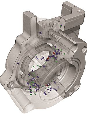 Industrial computed tomography - An industrial computed tomography (CT) scan conducted on an aluminum casting to identify internal failures such as voids. All color coordinated particles within casting are voids/porosity/air pockets, which can additionally be measured and are color coordinated according to size.