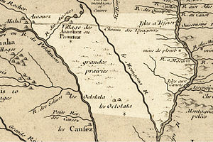 Des Moines River - The Des Moines as it was depicted in 1718 by Guillaume Delisle; modern Iowa highlighted.
