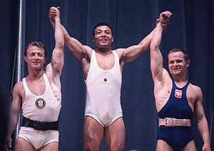 Mieczysław Nowak - Isaac Berger, Yoshinobu Miyake and Mieczysław Nowak at the 1964 Olympics