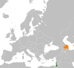 Map indicating locations of Israel and Azerbaijan
