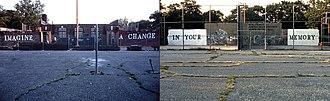 John Fekner - Fekner stencils at Gorman Park/Itchycoo Park, Jackson Heights, NY
