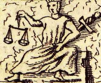 Cardinal virtues - Image: Iustitia Papstgrab Bamberg aus Gottfried Henschen u Daniel Papebroch 1747