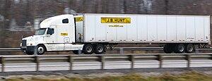 A J.B. Hunt semi-trailer truck photographed on...