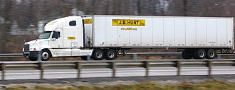 J. B. Hunt - J.B. Hunt truck on Ohio Turnpike in Hudson, Ohio.