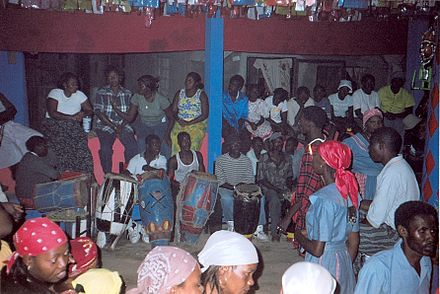 A Vodou ceremony taking place in an ounfo in Jacmel, Haiti JacmelVodou.jpg