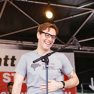 Jacob Appelbaum - Appelbaum talks at the protest march, Freedom not fear, in Berlin (2013).