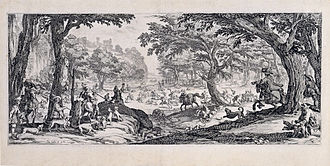 Jacques Callot - The Large Hunt, a famous technical showpiece.