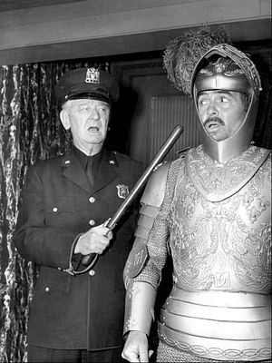 "James Burke (actor) - Burke as a policeman with James Mason in ""Once Upon a Knight"" from The DuPont Show with June Allyson, 1960."