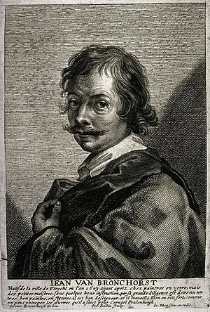 Jan Gerritsz van Bronckhorst - Jean van Bronchorst by Pieter Bailliu after a selfportrait, published in Cornelis de Bie's Gulden Cabinet in 1662.