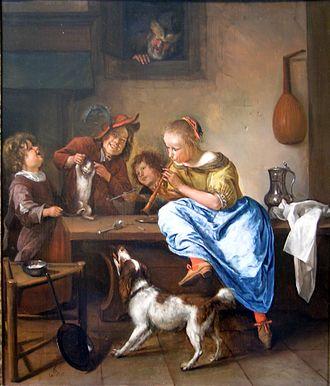 Dutch Interiors - Image: Jan Steen Kinderu Katze