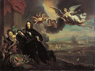 Cornelis de Witt - The apotheosis of Cornelis de Witt, with the raid on Chatham in the background. After Jan de Baen
