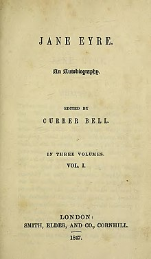 "The title page to the original publication of Jane Eyre, including Brontë's pseudonym ""Currer Bell""."