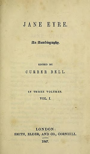 Charlotte Brontë - Title page of the first edition of Jane Eyre