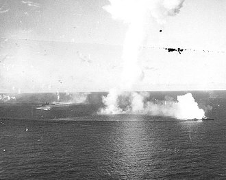 Japanese battleship Ise - Ise (centre left) during the Battle of Cape Engaño