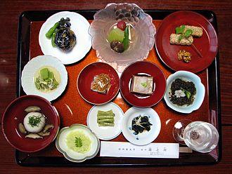 Buddhist vegetarianism - Image: Japanese temple vegetarian dinner