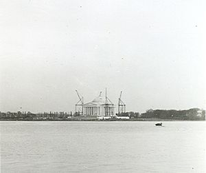 Jefferson Memorial - Under construction in 1941, as seen from across the Tidal Basin