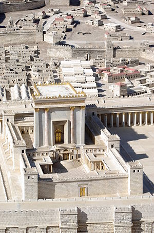 Herod's Temple in Jerusalem functioned as the spiritual center of the various sects of Second Temple Judaism until it was destroyed in 70 CE. This picture shows the temple as imagined in a 1966 model. Jerusalem Modell BW 3.JPG