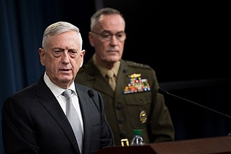 2018 missile strikes against Syria - Former US Secretary of Defense Jim Mattis and Chairman of the Joint Chiefs of Staff Joseph Dunford briefing reporters on the attack
