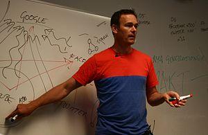Swedish blogger Johan Ronnestam, lecturing abo...