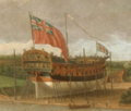 John Cleveley the Elder -Launch of a Fourth Rate on the River Orwell (detail).png