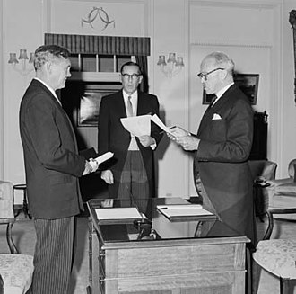 "Liberal Party of Australia - John Gorton being sworn in as Prime Minister by Lord Casey on 10 January 1968. Gorton led Australia into the tumultuous decade of the 1970s. Gorton declared himself ""Australian to the bootheels"" and increased funding for Australian cinema and arts to project a newly assertive Australian nationalism."