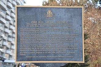 John Rae (explorer) - Plaque commemorating Rae's time in Hamilton, Ontario