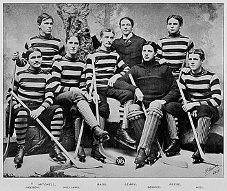 Samuel Alfred Mitchell - Samuel Alfred Mitchell, at left in the back row, with the ice hockey team of the Johns Hopkins University during the 1895–96 season.