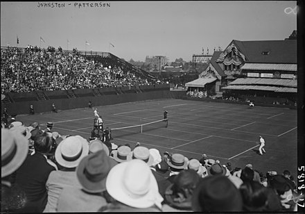 Bill Johnston (US) vs. Gerald Patterson (Australasia) in the Challenge Round at the West Side Tennis Club in 1922