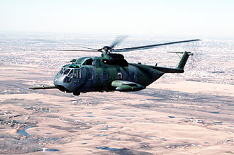 Sikorsky S-61R - A USAF HH-3E Jolly Green Giant helicopter flies over Canada.