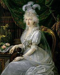 Marie Luise (Ludovica) von Neapel-Sizilien (1773-1802), Gemahlin von Ferdinand III. von Toskana, an einem Tisch sitzend, Kniestück