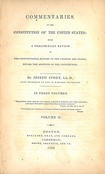 Joseph Story, Commentaries on the Constitution of the United States (1st ed, 1833, vol II, title page).jpg