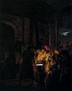 <i>The Blacksmiths Shop</i> painting by Joseph Wright of Derby