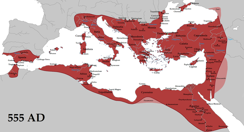 The empire in AD 555 under Justinian the Great, at its greatest extent since the fall of the Western Roman Empire (its vassals in pink)