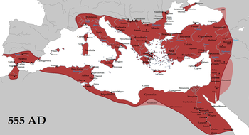 The Empire at its greatest extent in 555 CE underJustinian the Great (its vassals in pink)