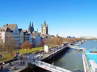Innenstadt, Cologne - Rheingarten embankment;  visible in the background are Cologne Cathedral (center left) and Groß St. Martin church (center)