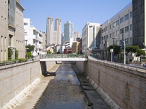 Kanda River - The Kanda River in Nakano. The Tokyo Metropolitan Government Building is in the background