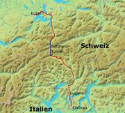 Karte Gotthardbahn