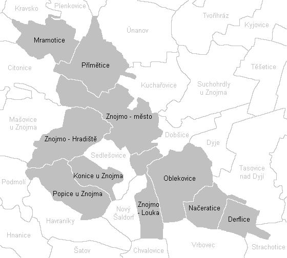 Katastrální mapa Znojma