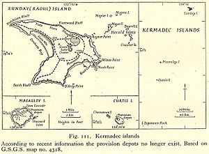 Raoul Island - Map of the Kermadec Islands with Raoul Island