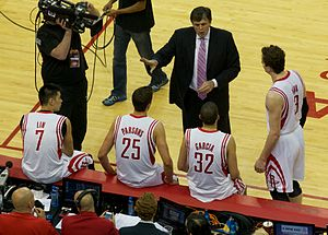 Kevin McHale (basketball) - Kevin McHale, Jeremy Lin, Chandler Parsons, Francisco García, and Ömer Aşık during game 6 of the first round of the 2013 playoffs.